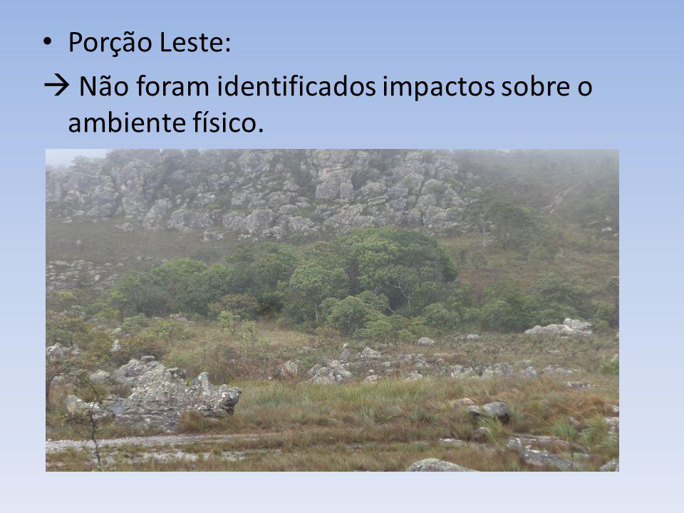 Porção Leste: Não foram identificados impactos sobre o ambiente físico.