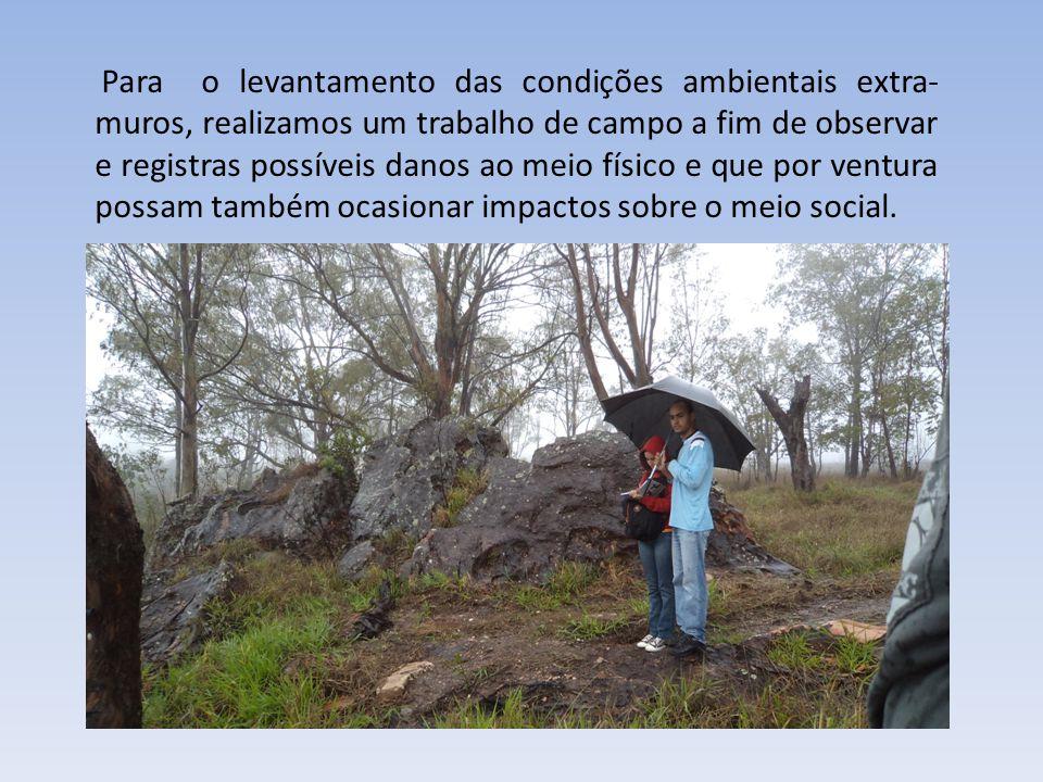Para o levantamento das condições ambientais extra- muros, realizamos um trabalho de campo a fim de observar e registras possíveis danos ao meio físic