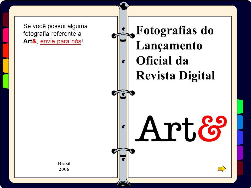Clique na imagem para ver em tamanho maior Ju, a Editora Chefe, abrindo a seção solene de Lançamento, mostrando a primeira página do site www.revista.art.brwww.revista.art.br Dia 29 de abril de 2004, depois de mais de um ano de planejamento, aconteceu o Lançamento Oficial da Art&, no Mariantônia, em São Paulo, SP.
