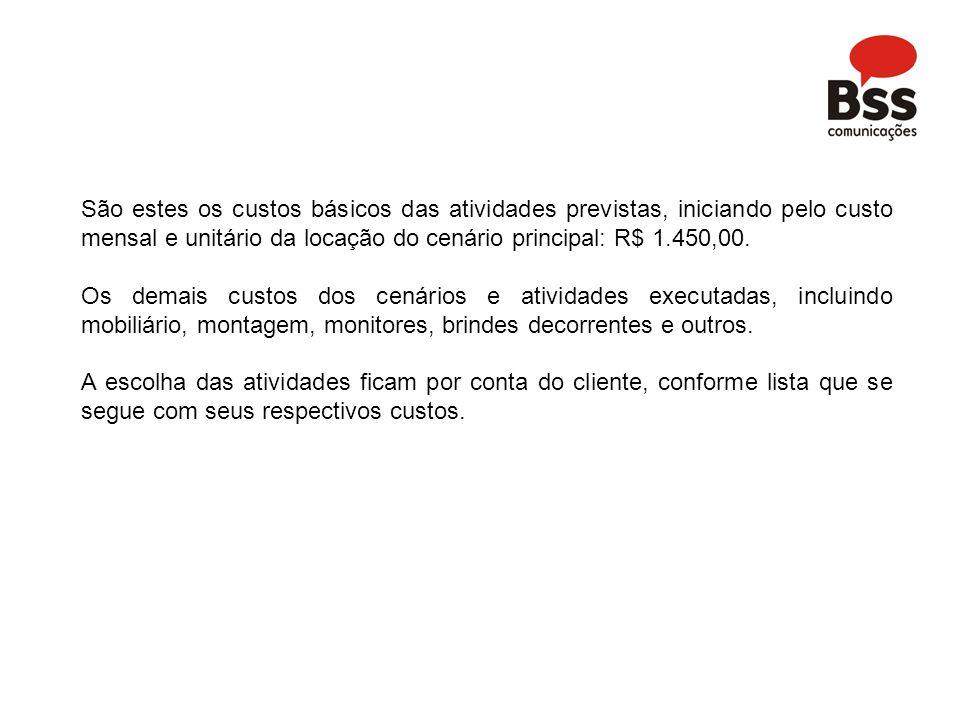 São estes os custos básicos das atividades previstas, iniciando pelo custo mensal e unitário da locação do cenário principal: R$ 1.450,00.