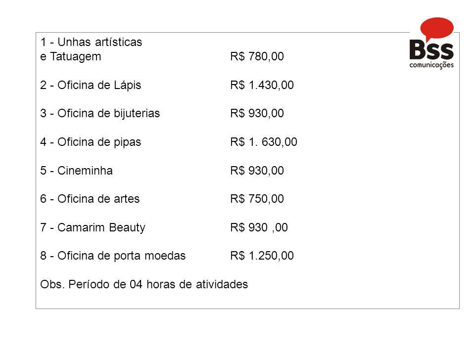 1 - Unhas artísticas e Tatuagem R$ 780,00 2 - Oficina de Lápis R$ 1.430,00 3 - Oficina de bijuterias R$ 930,00 4 - Oficina de pipas R$ 1.