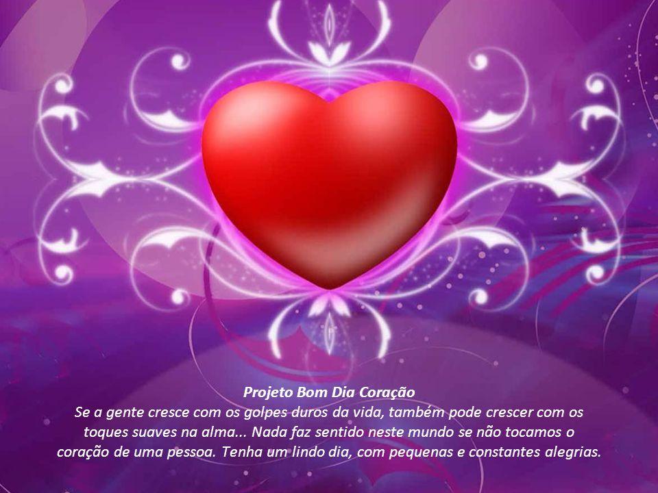Projeto Bom Dia Coração Se a gente cresce com os golpes duros da vida, também pode crescer com os toques suaves na alma...
