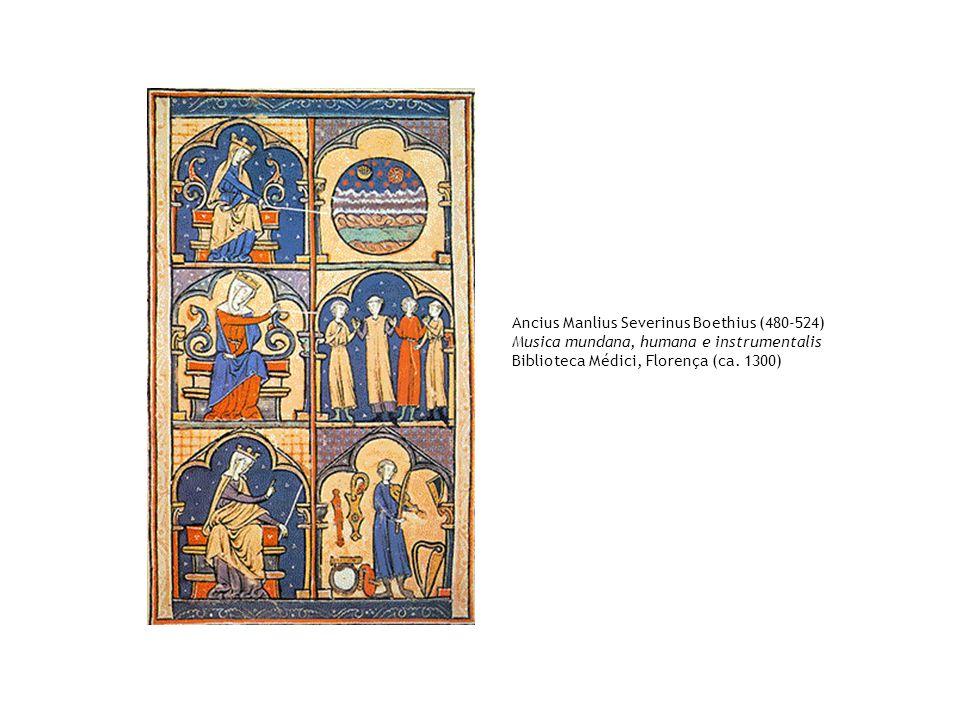 Ancius Manlius Severinus Boethius (480-524) Musica mundana, humana e instrumentalis Biblioteca Médici, Florença (ca. 1300)