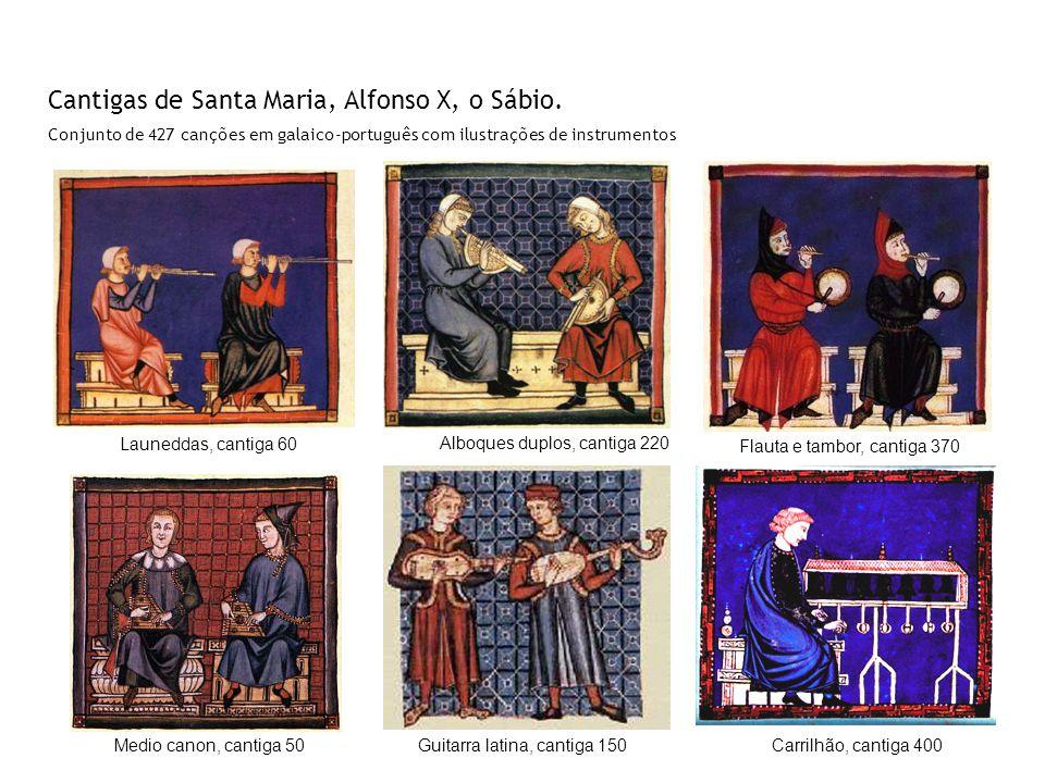 Cantigas de Santa Maria, Alfonso X, o Sábio. Conjunto de 427 canções em galaico-português com ilustrações de instrumentos Guitarra latina, cantiga 150