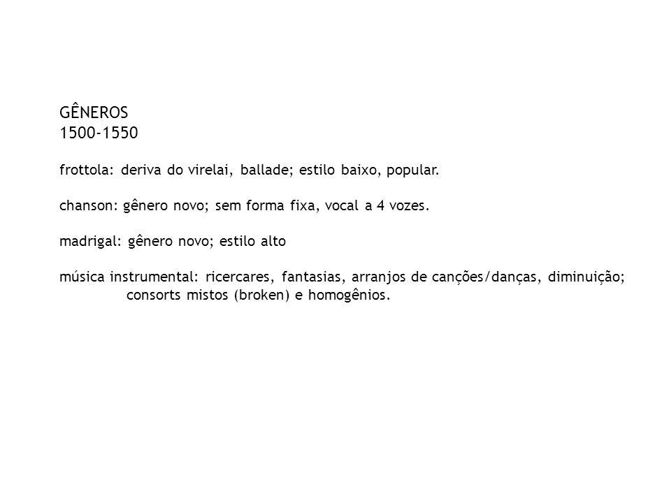 GÊNEROS 1500-1550 frottola: deriva do virelai, ballade; estilo baixo, popular. chanson: gênero novo; sem forma fixa, vocal a 4 vozes. madrigal: gênero