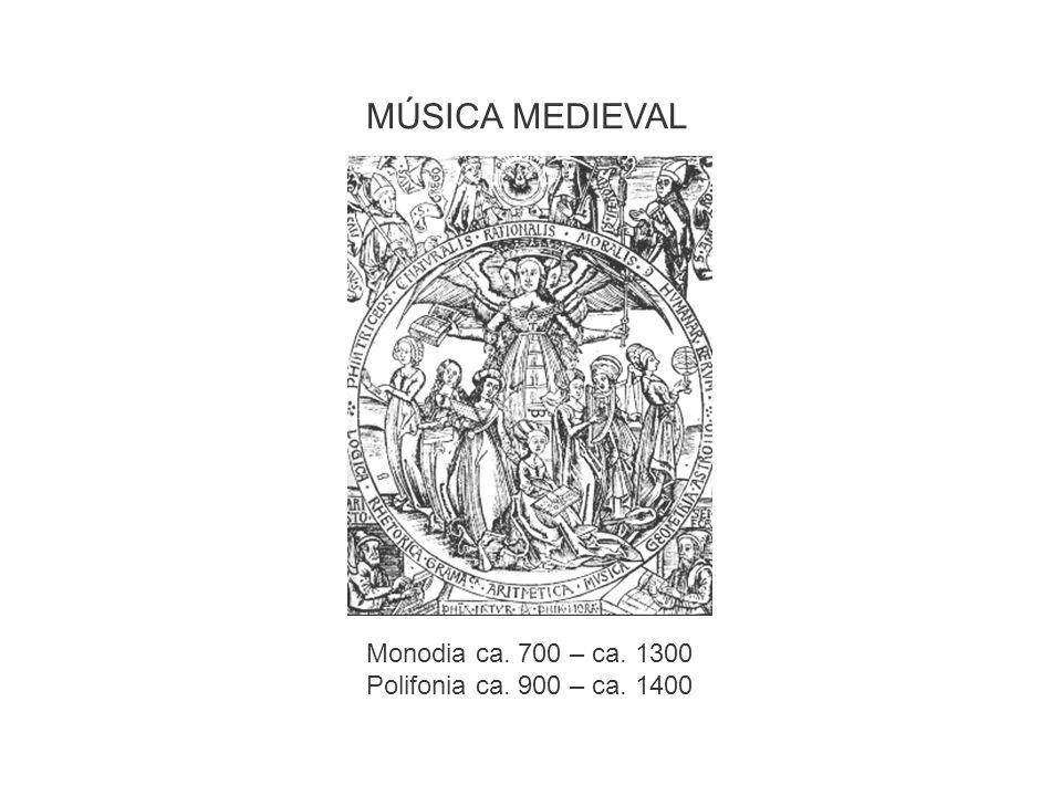 MÚSICA MEDIEVAL Monodia ca. 700 – ca. 1300 Polifonia ca. 900 – ca. 1400
