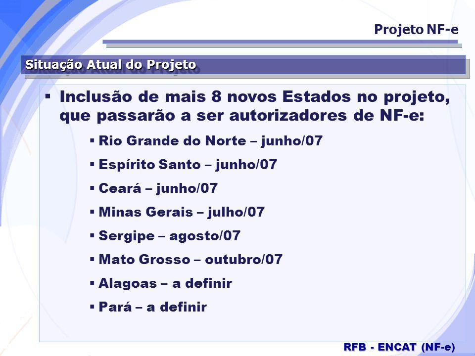 Secretaria da Fazenda RFB - ENCAT (NF-e) Situação Atual do Projeto Inclusão de mais 8 novos Estados no projeto, que passarão a ser autorizadores de NF