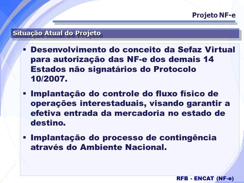 Secretaria da Fazenda RFB - ENCAT (NF-e) Situação Atual do Projeto Desenvolvimento do conceito da Sefaz Virtual para autorização das NF-e dos demais 1