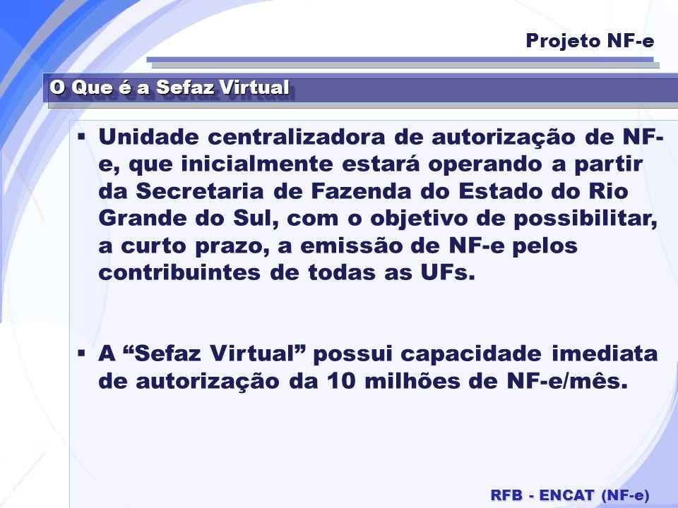 Secretaria da Fazenda RFB - ENCAT (NF-e) O Que é a Sefaz Virtual Unidade centralizadora de autorização de NF- e, que inicialmente estará operando a pa