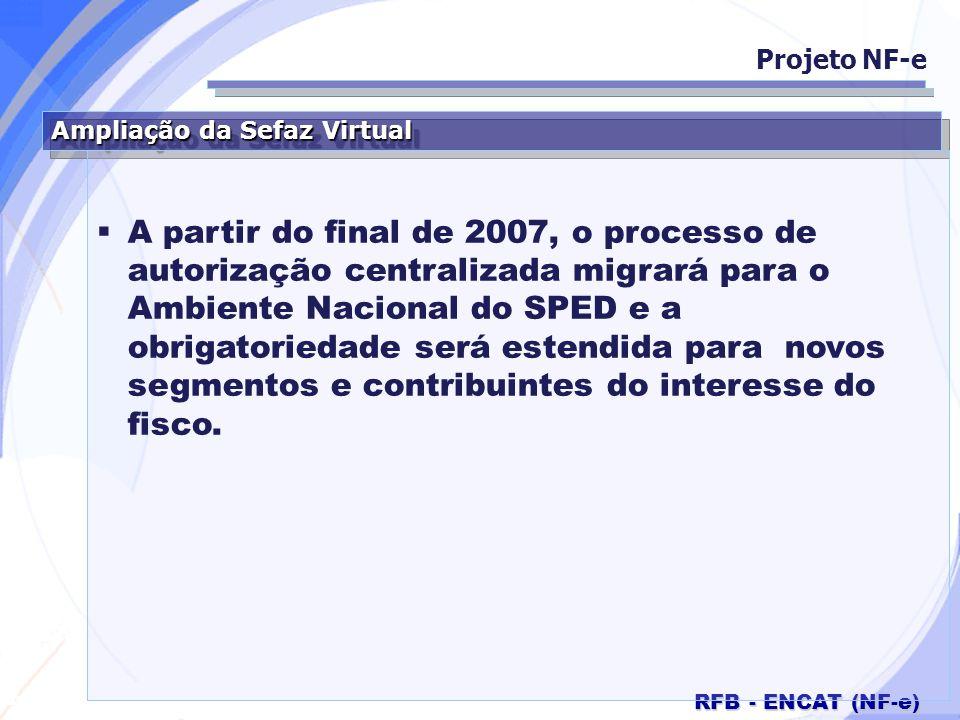 Secretaria da Fazenda RFB - ENCAT (NF-e) Ampliação da Sefaz Virtual A partir do final de 2007, o processo de autorização centralizada migrará para o A