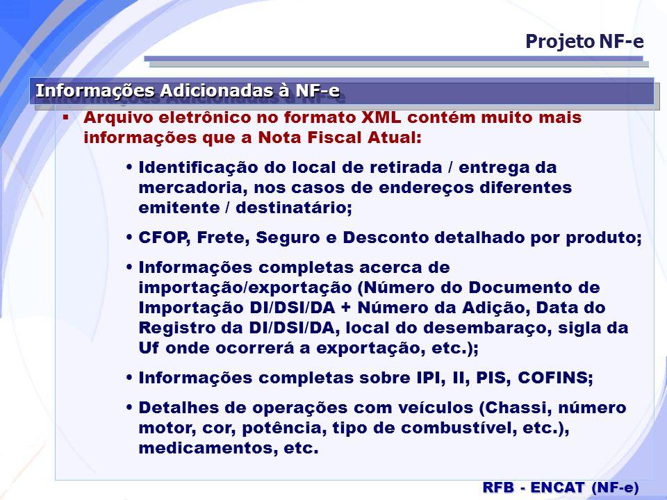Secretaria da Fazenda RFB - ENCAT (NF-e) Informações Adicionadas à NF-e Arquivo eletrônico no formato XML contém muito mais informações que a Nota Fis