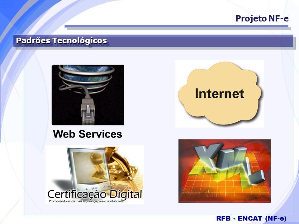 Secretaria da Fazenda RFB - ENCAT (NF-e) Padrões Comunicação Projeto NF-e Internet SSL versão 3.0 com autenticação mútua; Web Service com SOAP versão 1.2; Passagem de 2 parâmetros: XML de cabeçalho; XML de dados; Controle da versão.