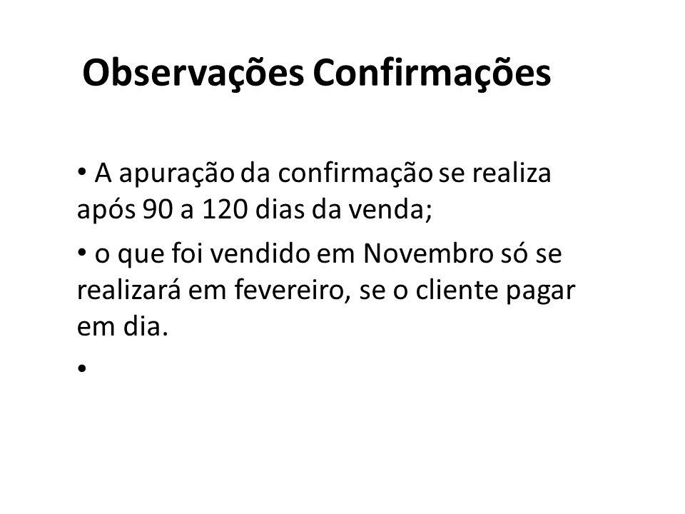 Observações Confirmações A apuração da confirmação se realiza após 90 a 120 dias da venda; o que foi vendido em Novembro só se realizará em fevereiro, se o cliente pagar em dia.