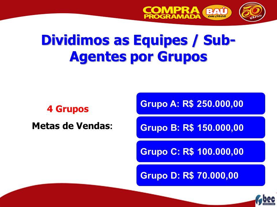 Dividimos as Equipes / Sub- Agentes por Grupos Metas de Vendas : 4 Grupos Grupo A: R$ 250.000,00 Grupo B: R$ 150.000,00 Grupo C: R$ 100.000,00 Grupo D
