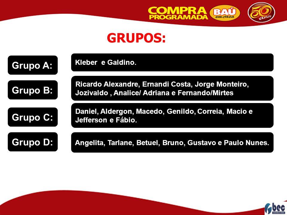 Grupo C: Grupo B: Grupo D: Grupo A: Kleber e Galdino. Ricardo Alexandre, Ernandi Costa, Jorge Monteiro, Jozivaldo, Analice/ Adriana e Fernando/Mirtes