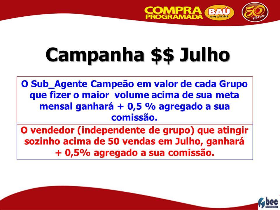 Campanha $$ Julho O Sub_Agente Campeão em valor de cada Grupo que fizer o maior volume acima de sua meta mensal ganhará + 0,5 % agregado a sua comissã