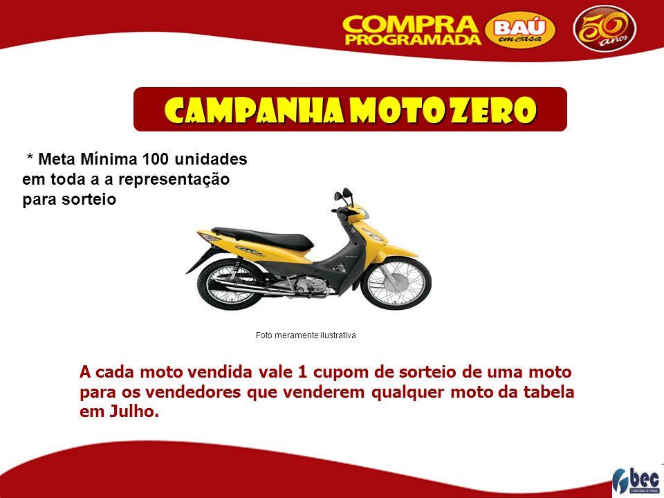 Campanha Moto ZERO A cada moto vendida vale 1 cupom de sorteio de uma moto para os vendedores que venderem qualquer moto da tabela em Julho. Foto mera