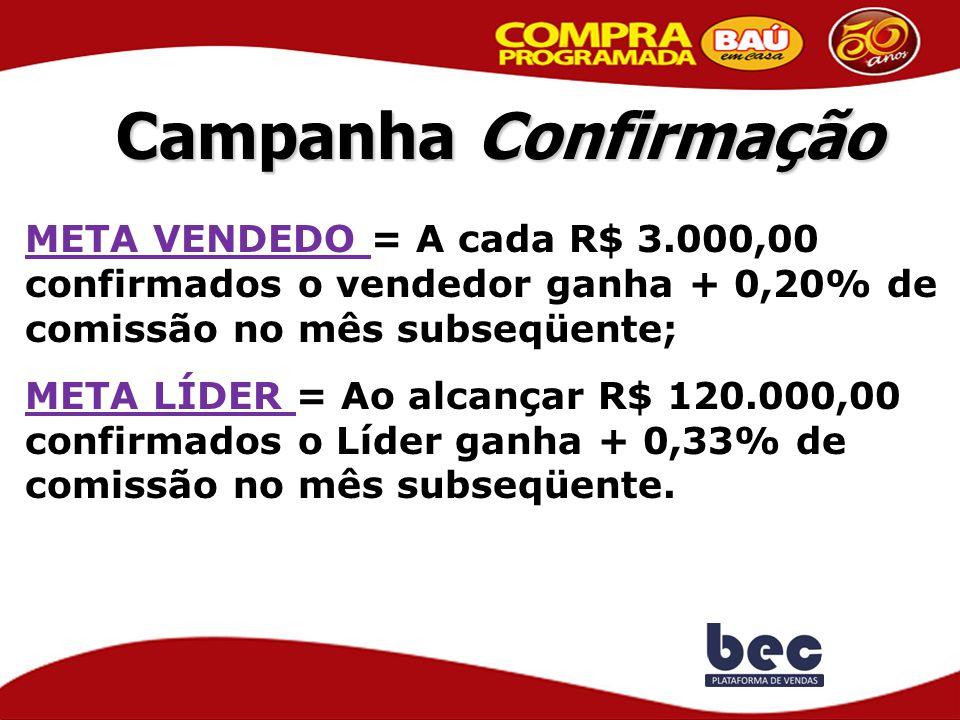 Campanha Confirmação META VENDEDO = A cada R$ 3.000,00 confirmados o vendedor ganha + 0,20% de comissão no mês subseqüente; META LÍDER = Ao alcançar R