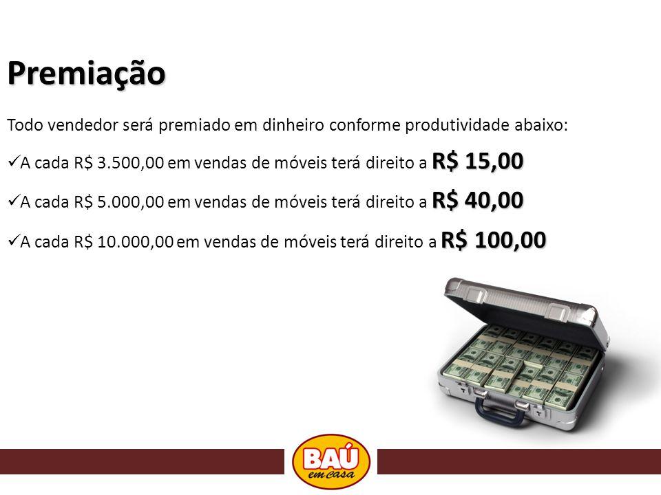 Premiação Todo vendedor será premiado em dinheiro conforme produtividade abaixo: R$ 15,00 A cada R$ 3.500,00 em vendas de móveis terá direito a R$ 15,00 R$ 40,00 A cada R$ 5.000,00 em vendas de móveis terá direito a R$ 40,00 R$ 100,00 A cada R$ 10.000,00 em vendas de móveis terá direito a R$ 100,00