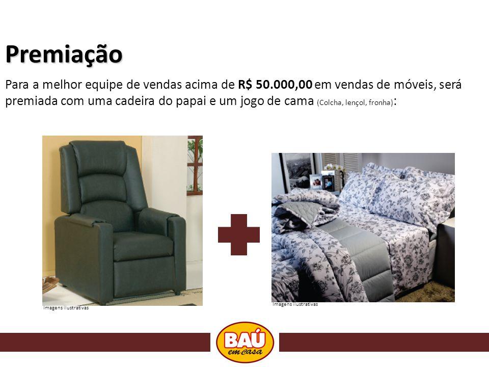 Premiação Para a melhor equipe de vendas acima de R$ 50.000,00 em vendas de móveis, será premiada com uma cadeira do papai e um jogo de cama (Colcha, lençol, fronha) : Imagens ilustrativas