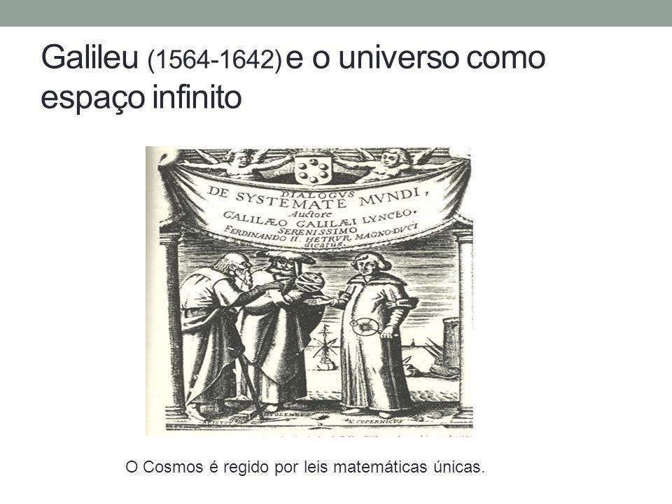 Galileu (1564-1642) e o universo como espaço infinito O Cosmos é regido por leis matemáticas únicas.