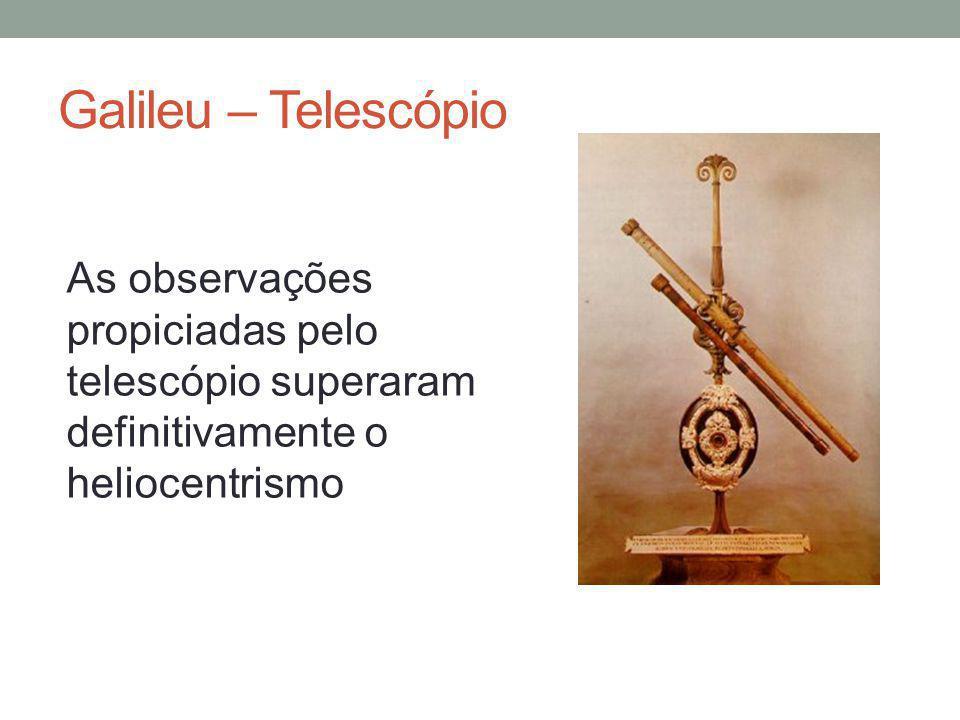 Galileu – Telescópio As observações propiciadas pelo telescópio superaram definitivamente o heliocentrismo