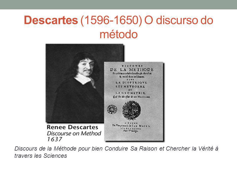 Descartes (1596-1650) O discurso do método Discours de la Méthode pour bien Conduire Sa Raison et Chercher la Vérité à travers les Sciences