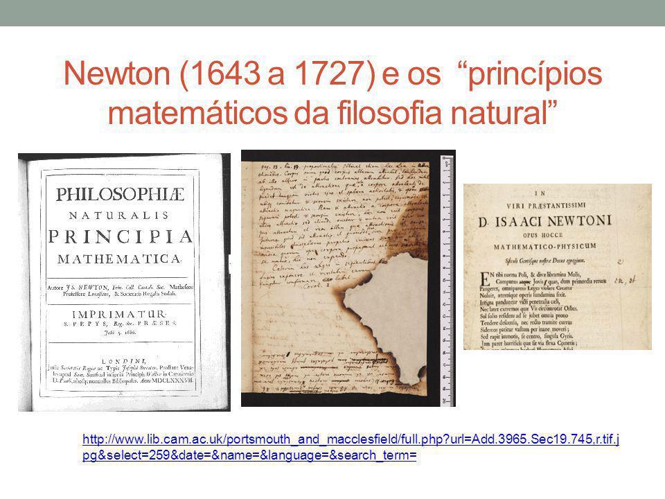 Newton (1643 a 1727) e os princípios matemáticos da filosofia natural http://www.lib.cam.ac.uk/portsmouth_and_macclesfield/full.php?url=Add.3965.Sec19