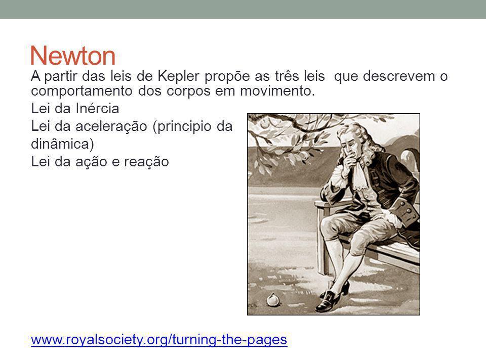 Newton A partir das leis de Kepler propõe as três leis que descrevem o comportamento dos corpos em movimento. Lei da Inércia Lei da aceleração (princi