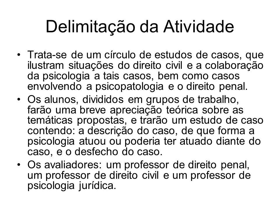 Delimitação da Atividade Trata-se de um círculo de estudos de casos, que ilustram situações do direito civil e a colaboração da psicologia a tais casos, bem como casos envolvendo a psicopatologia e o direito penal.