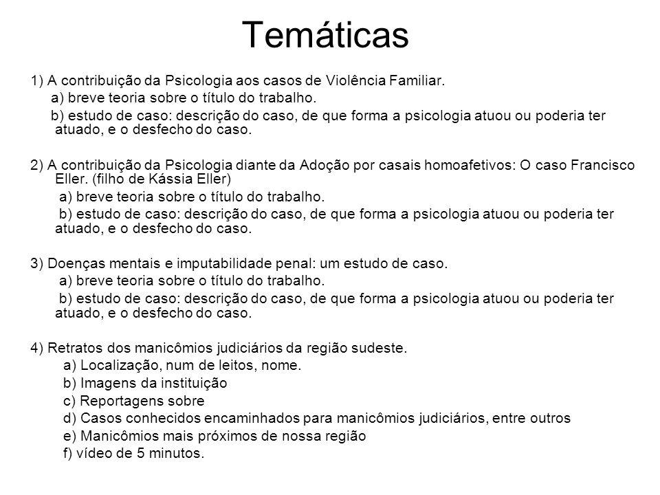 Temáticas 1) A contribuição da Psicologia aos casos de Violência Familiar.