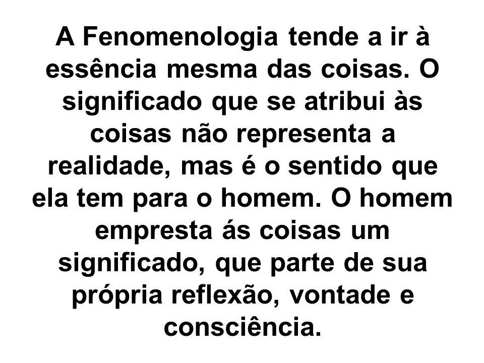 A Fenomenologia tende a ir à essência mesma das coisas. O significado que se atribui às coisas não representa a realidade, mas é o sentido que ela tem
