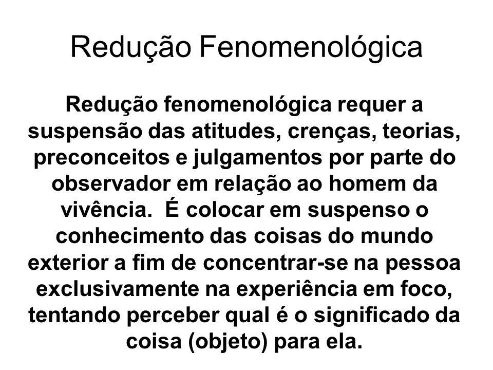 Redução fenomenológica requer a suspensão das atitudes, crenças, teorias, preconceitos e julgamentos por parte do observador em relação ao homem da vi