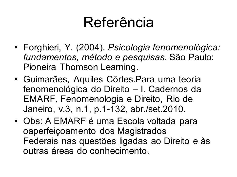 Referência Forghieri, Y. (2004). Psicologia fenomenológica: fundamentos, método e pesquisas. São Paulo: Pioneira Thomson Learning. Guimarães, Aquiles