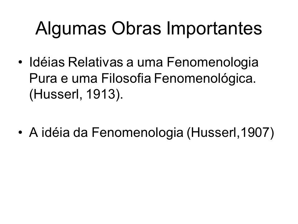 Algumas Obras Importantes Idéias Relativas a uma Fenomenologia Pura e uma Filosofia Fenomenológica. (Husserl, 1913). A idéia da Fenomenologia (Husserl