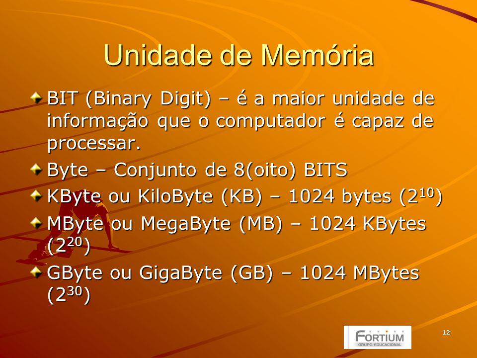 12 Unidade de Memória BIT (Binary Digit) – é a maior unidade de informação que o computador é capaz de processar.
