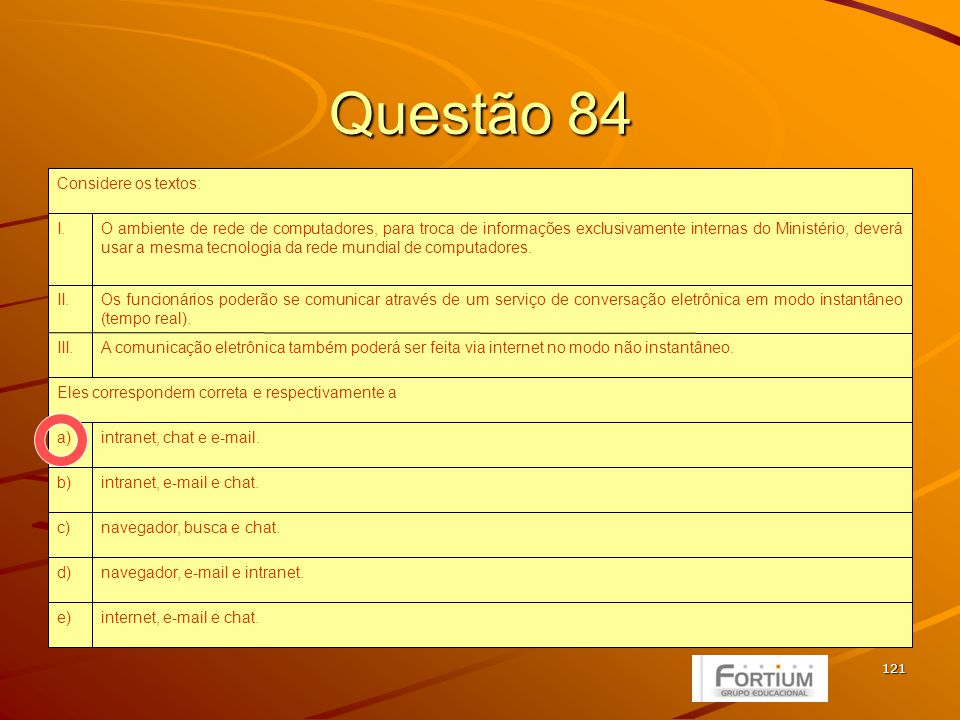 121 Questão 84 internet, e-mail e chat.e) navegador, e-mail e intranet.d) navegador, busca e chat.c) intranet, e-mail e chat.b) intranet, chat e e-mai