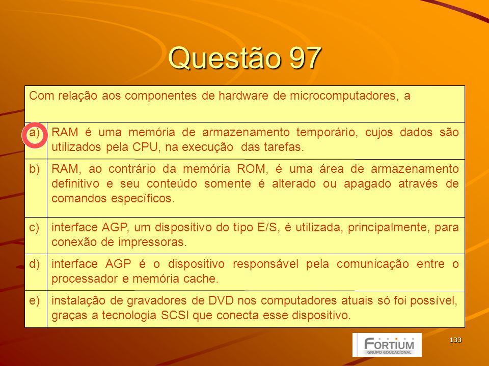 134 Questão 98 IMAP e POP3.e) IMAP e SMTP.d) POP3 e SNMP.c) POP3 e SMTP.b) POP3 e IMAP.a) Tais propriedades correspondem, respectivamente, aos protocolos: Protocolo de troca de mensagens entre servidores de correio eletrônico.II.