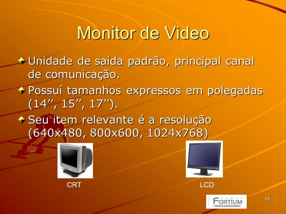 25 Monitor de Video Unidade de saída padrão, principal canal de comunicação.