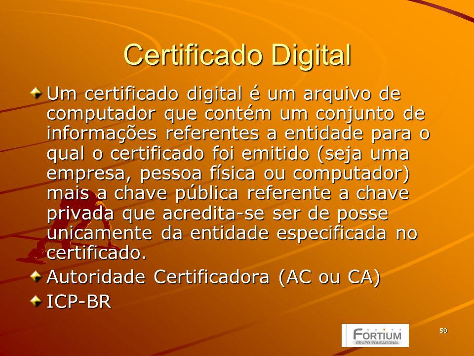 60 Criptografia Assimétrica ou de Chave pública Assimétrica ou de Chave pública autenticidade e confidencialidade autenticidade e confidencialidade