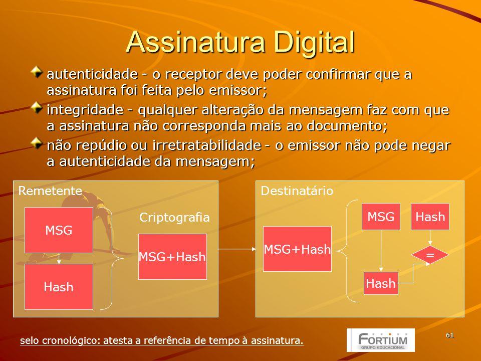 61 Remetente Assinatura Digital autenticidade - o receptor deve poder confirmar que a assinatura foi feita pelo emissor; integridade - qualquer alteração da mensagem faz com que a assinatura não corresponda mais ao documento; não repúdio ou irretratabilidade - o emissor não pode negar a autenticidade da mensagem; MSG Hash MSG+Hash Criptografia Destinatário MSG+Hash MSGHash = selo cronológico: atesta a referência de tempo à assinatura.