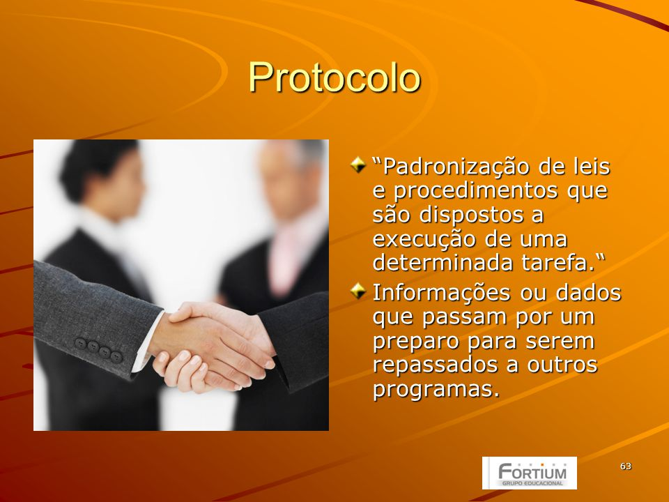 63 Protocolo Padronização de leis e procedimentos que são dispostos a execução de uma determinada tarefa.