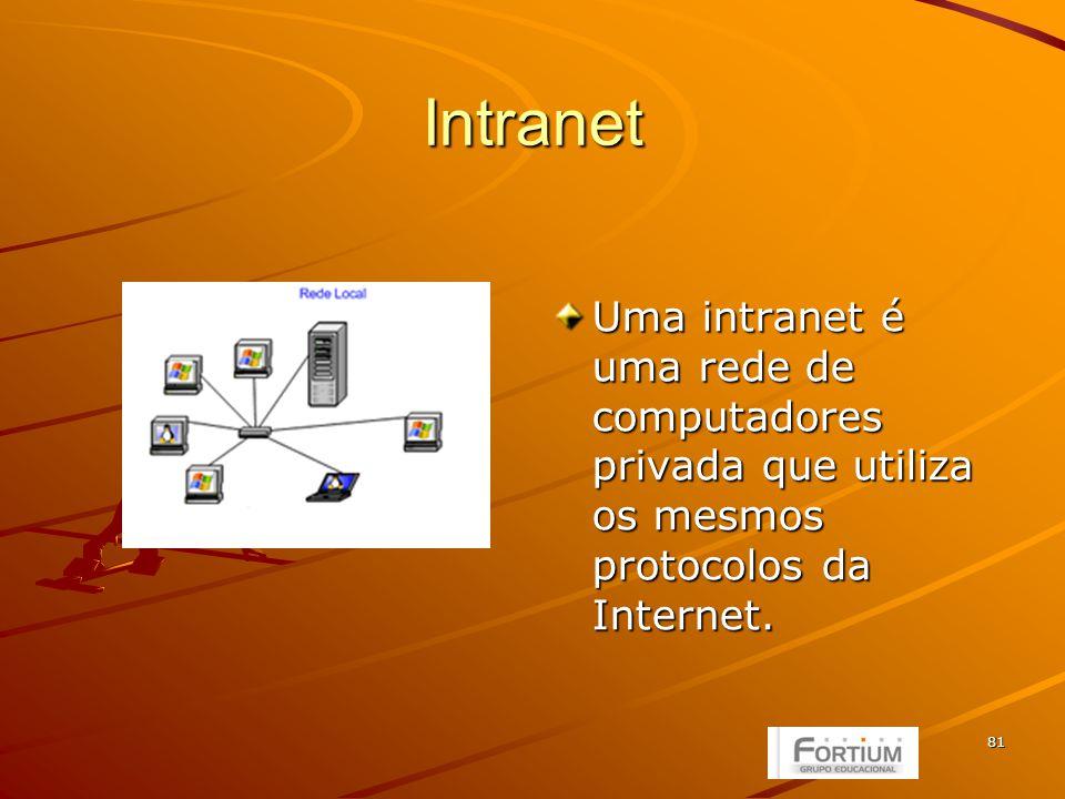81 Intranet Uma intranet é uma rede de computadores privada que utiliza os mesmos protocolos da Internet.
