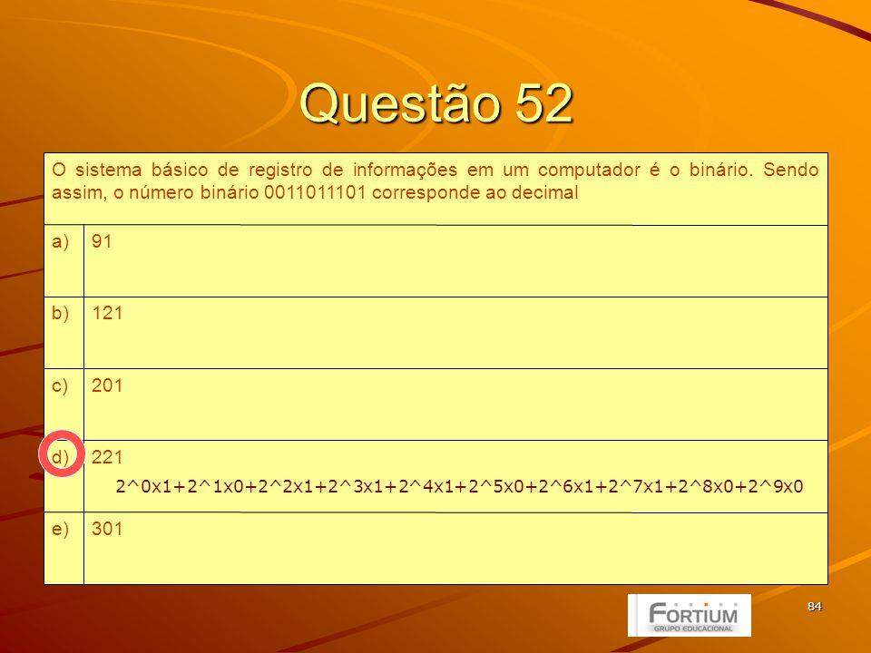 85 Questão 53 um sistema operacional de interface gráfica.e) um chip de memória de acesso randômico.d) um slot de memória regravável.c) uma memória de massa.b) um sistema de controle de rotinas de entrada e saída.a) O BIOS de um microcomputador é basicamente