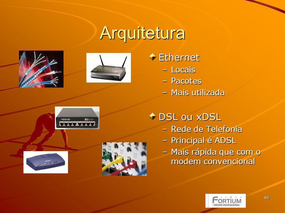 92 Arquitetura Ethernet –Locais –Pacotes –Mais utilizada DSL ou xDSL –Rede de Telefonia –Principal é ADSL –Mais rápida que com o modem convencional