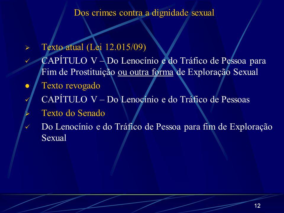 12 Dos crimes contra a dignidade sexual Texto atual (Lei 12.015/09) CAPÍTULO V – Do Lenocínio e do Tráfico de Pessoa para Fim de Prostituição ou outra