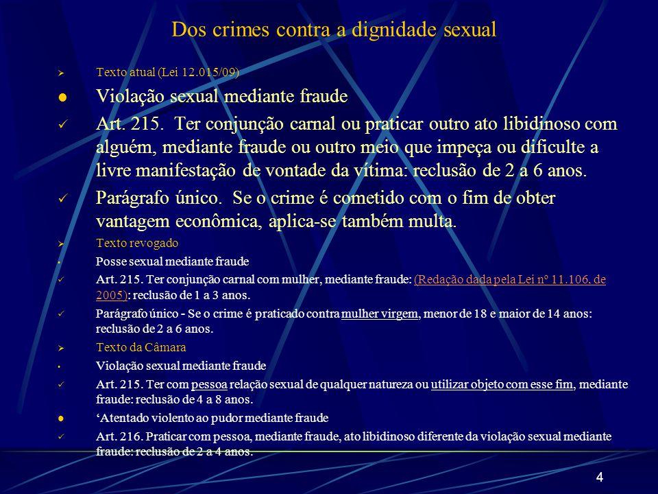 4 Dos crimes contra a dignidade sexual Texto atual (Lei 12.015/09) Violação sexual mediante fraude Art. 215. Ter conjunção carnal ou praticar outro at