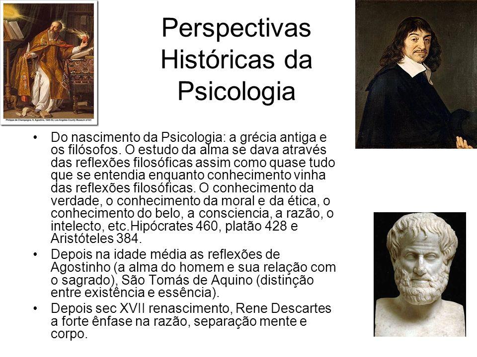 Perspectivas Históricas da Psicologia Do nascimento da Psicologia: a grécia antiga e os filósofos. O estudo da alma se dava através das reflexões filo