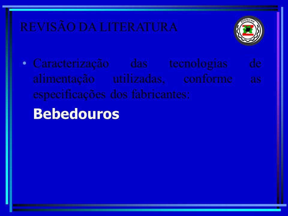 Caracterização das tecnologias de alimentação utilizadas, conforme as especificações dos fabricantes: Bebedouros REVISÃO DA LITERATURA