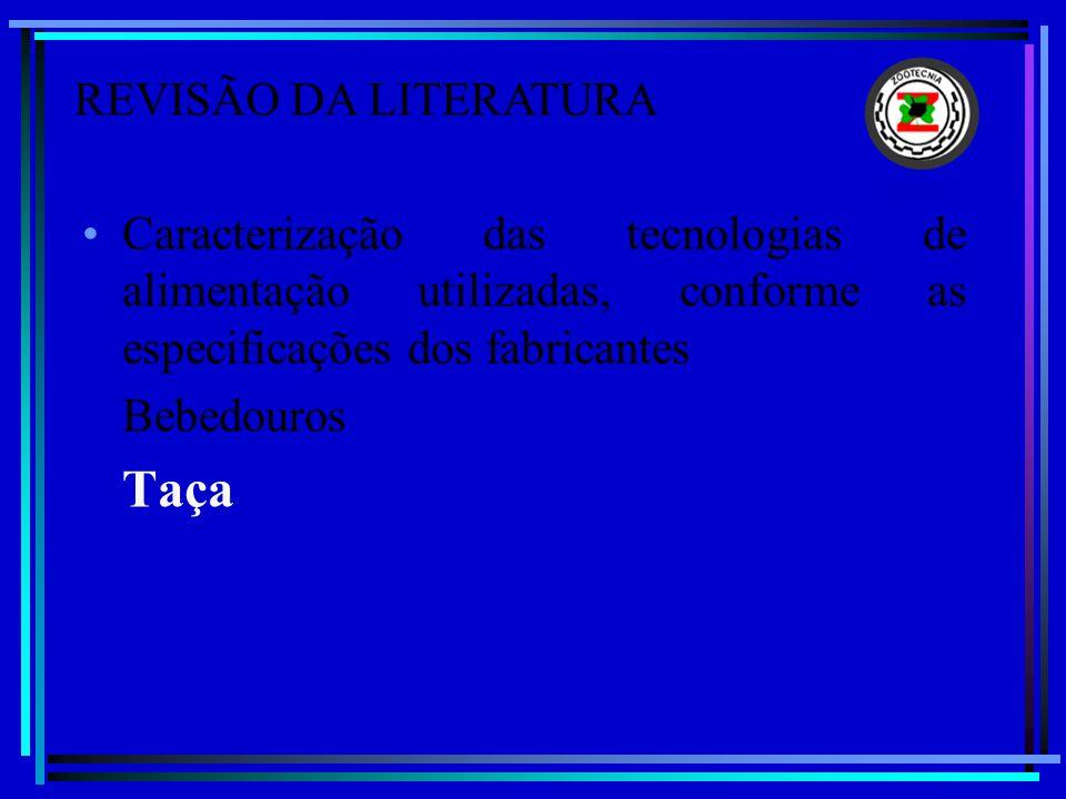 Caracterização das tecnologias de alimentação utilizadas, conforme as especificações dos fabricantes Bebedouros Taça REVISÃO DA LITERATURA